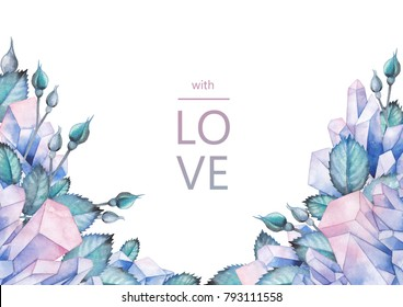 Cute watercolor design with pastel colored crystals and rose leaves