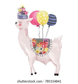 Cute watercolor dreaming llama, alpaca with birthday cake, balloons and beautiful blanket with floral pattern