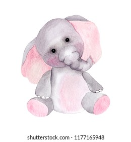 Cute watercolor elephant on a white background