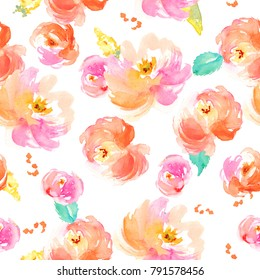 Cute Watercolor Floral Pattern with Pink and Red Flowers