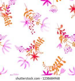 Cute watercolor floral seamless pattern. Pink boho flowers. Vintage hippie style. Cute floral watercolour pattern. Uncommon trendy handpainted flowers.