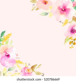 Cute Watercolor Flower Background Frame With Painted Floral Corners