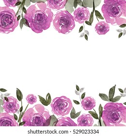 Cute watercolor flower frame. Background with purple roses. Invitation. Wedding card. Birthday card.