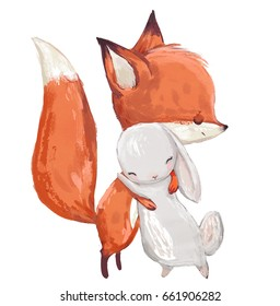 cute watercolor fox and hare on white background