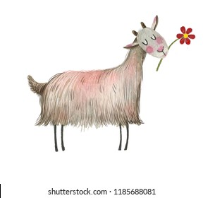 Cute watercolor goat  on the white isolated background. Completely drawn by hand.