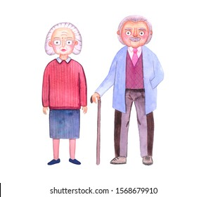 Cute watercolor grandmother and grandfather. Stylized illustration. Grandmother with glasses and grandfather with a cane