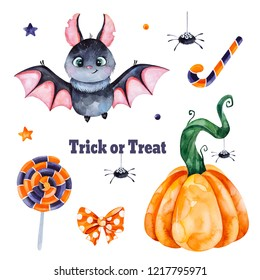 Cute watercolor Halloween set.  Texture with pumpkin, candy,muffin,skull,spyder and bow.Perfect for wallpaper,print,stationery, scrapbooking, stickers,party decorations,invitations