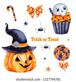Cute watercolor Halloween set.Texture with pumpkin and black hat, candy,muffin,skull and bow.Perfect for wallpaper,print,stationery, scrapbooking, stickers,party decorations,invitations