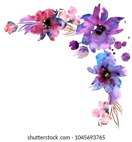 Cute watercolor hand painted flower corner. Floral background