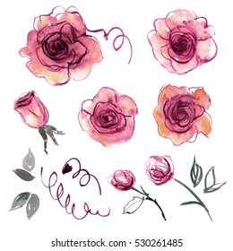Cute watercolor hand painted flower elements for invitation, wedding card, birthday card. Purple roses.
