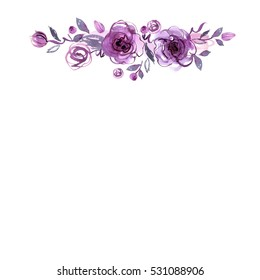 Cute watercolor hand painted flower frame. Background with purple roses. Invitation. Wedding card. Birthday card.