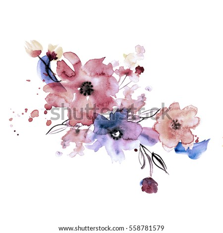 Cute Watercolor Hand Painted Flowers Invitation Stock Illustration