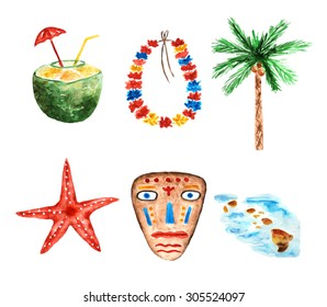Cute watercolor Hawaii islands objects, icons, banners collection including coconut cocktail with straw and umbrella, flower garland, sea star, palm tree, tribal mask and islands map