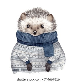 Cute watercolor hedgehog