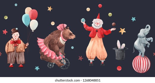 Cute watercolor horizontal pattern, circus, children's print, clown with balloons and juggler, bear ballerina on a bicycle, elephant on a ball, hat with a hare. dark background