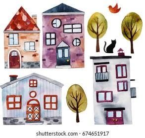 Cute watercolor houses set .