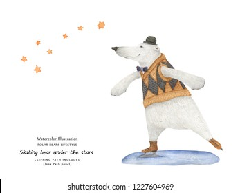 Cute watercolor illustration Bear skate under the Ursa Minor stars. Isolated clipping path included