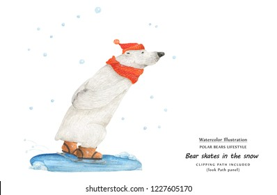 Cute watercolor illustration Bear skate in the snow and Snow Ursa Minor in the sky. Isolated clipping path included