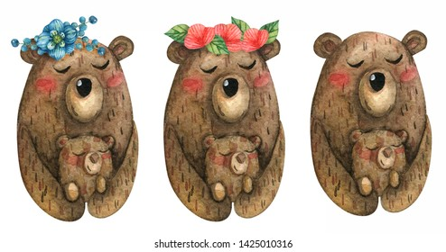 Cute watercolor illustration of brown bears. Family. Mom with a flower wreath on her head hugs the child