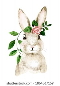 cute watercolor illustration with easter bunny. realistic drawing of a rabbit, hare with spring flowers. symbol of Easter, spring. cute drawing for kids. decoration for postcards, clip art