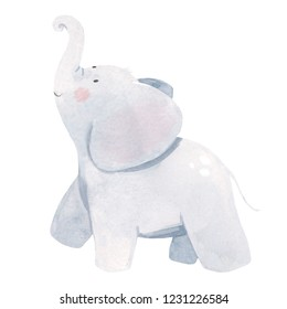 Cute watercolor illustration of an elephant, isolated children's illustration, children's design