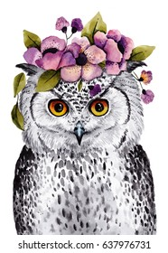 Cute watercolor illustration. Little owl with wreath of flowers on head. Pretty nursery prints