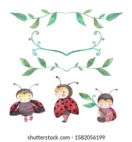 Cute watercolor ladybug clip art set