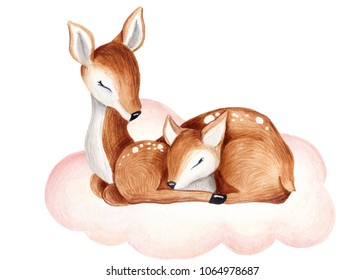 cute watercolor little deer baby watercolor bembi cartoon baby nursery  Mother and baby on the clouds