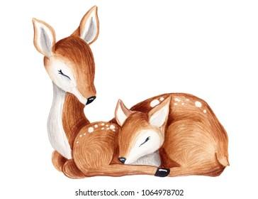 cute watercolor little deer baby watercolor bembi cartoon baby nursery  Mother and baby