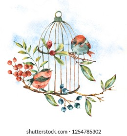 Cute watercolor natural floral greeting card with birds, tree twig, berries, leaves and cage, isolated vintage illustration