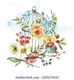 Cute watercolor natural floral greeting card with birds, white rose, wildflowers, berries, leaves and cage, isolated vintage illustration