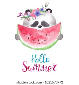 Cute watercolor panda in floral wreath eating watermelon. Hello summer card