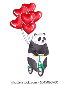 Cute watercolor panda riding bicycle. Happy Valentine's Day card