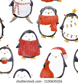 Cute watercolor pattern of a penguin cute illustration, a piggie in a red scarf, a garland, a festive Christmas pattern