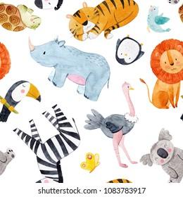 Cute watercolor pattern Safari, different tropical animals, zebra, lion, tiger, turtle, rhinoceros, toucan bird, penguin, ostrich, koala. baby Wallpapers.