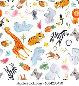 Cute watercolor pattern Safari, different tropical animals, zebra, lion, tiger, turtle, rhinoceros, toucan bird, penguin, ostrich, koala, flamingo, elephant, hippopotamus, giraffe, monkey. palm leaves