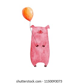 Cute watercolor pig holding balloon
