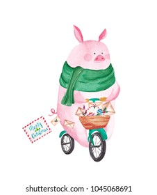 Cute watercolor pig riding bicycle. Merry Christmas greeting card