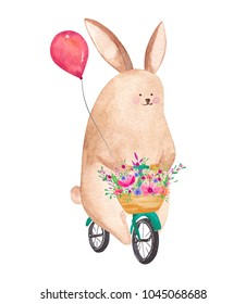Cute watercolor rabbit riding bicycle
