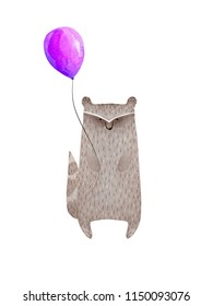 Cute watercolor raccoon holding balloon