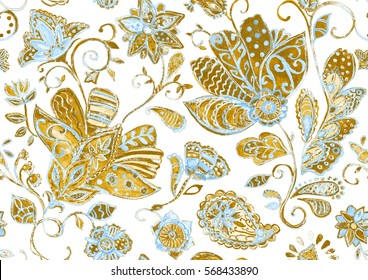 Cute watercolor seamless flower pattern. Hand drawn floral seamless pattern (tiling). Colorful seamless pattern with flowers, paisley and leaves. Perfect for textile, cover design.