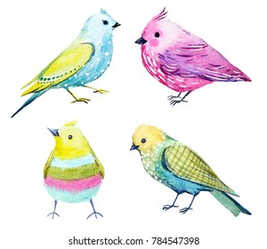 Cute watercolor set colorful funny birds.