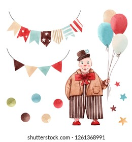 Cute watercolor set of isolated illustrations, circus, kids print, garland with flags, clown with balloons