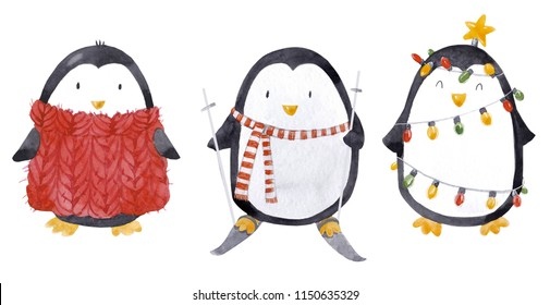 Cute watercolor set of penguin cute illustration, piggy in a red scarf, garland, a set of isolated illustrations, a penguin with skis