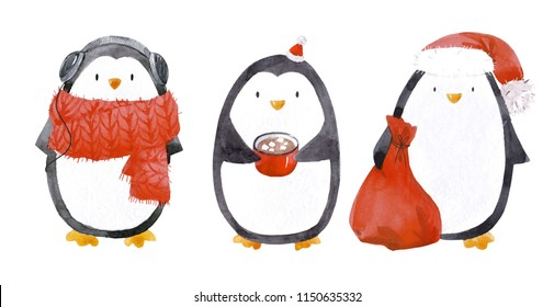Cute watercolor set of penguin cute illustration, piggin in red scarf, red scarf, mug with cocoa, penguin santa claus, set of isolated illustrations