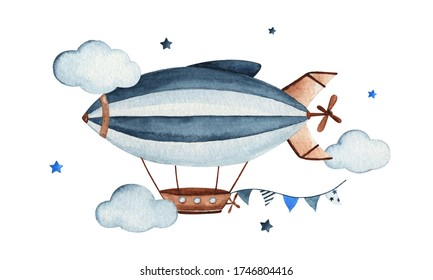 Cute watercolor sky scene with air zeppelin, garland, clouds and stars, watercolor hand drawn illustration