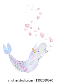Cute watercolor unicorn mermaid blowing bubbles