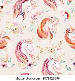 Cute watercolor unicorn seamless pattern with flowers. Nursery magical unicorn patterns. Princess rainbow texture. Trendy pink cartoon pony horse.