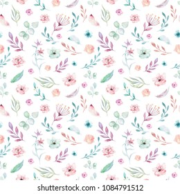 Cute watercolor unicorn seamless pattern with flowers. Nursery magical unicorn patterns. Princess rainbow texture. Trendy pink cartoon pony horse.