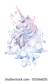 Cute watercolor unicorn in the sky. Hand drawn fantasy art in pastel colors isolated on white background